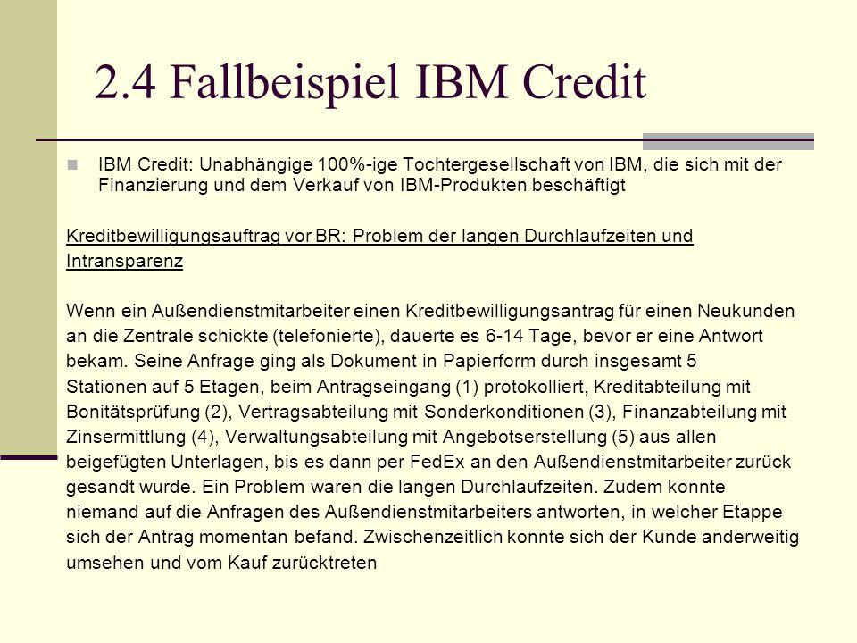 2.4 Fallbeispiel IBM Credit IBM Credit: Unabhängige 100%-ige Tochtergesellschaft von IBM, die sich mit der Finanzierung und dem Verkauf von IBM-Produk