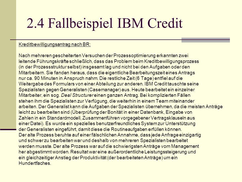 2.4 Fallbeispiel IBM Credit Kreditbewilligungsantrag nach BR: Nach mehreren gescheiterten Versuchen der Prozessoptimierung erkannten zwei leitende Füh