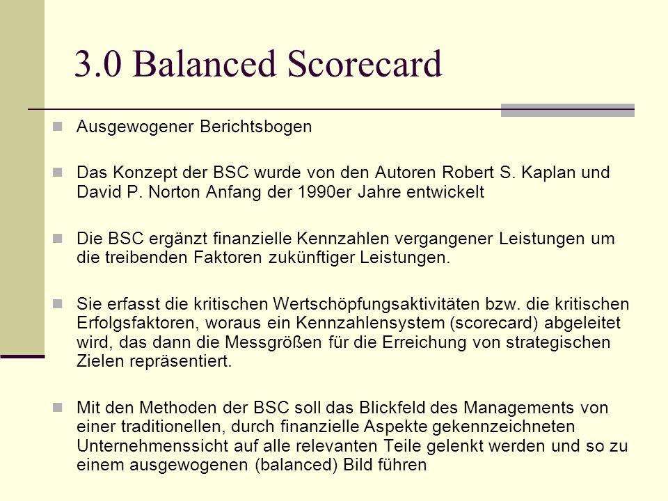 3.0 Balanced Scorecard Ausgewogener Berichtsbogen Das Konzept der BSC wurde von den Autoren Robert S. Kaplan und David P. Norton Anfang der 1990er Jah