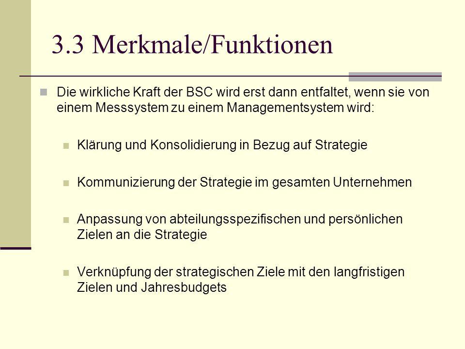 3.3 Merkmale/Funktionen Die wirkliche Kraft der BSC wird erst dann entfaltet, wenn sie von einem Messsystem zu einem Managementsystem wird: Klärung un