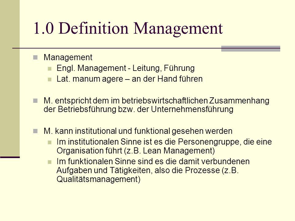 1.0 Definition Management Management Engl. Management - Leitung, Führung Lat. manum agere – an der Hand führen M. entspricht dem im betriebswirtschaft