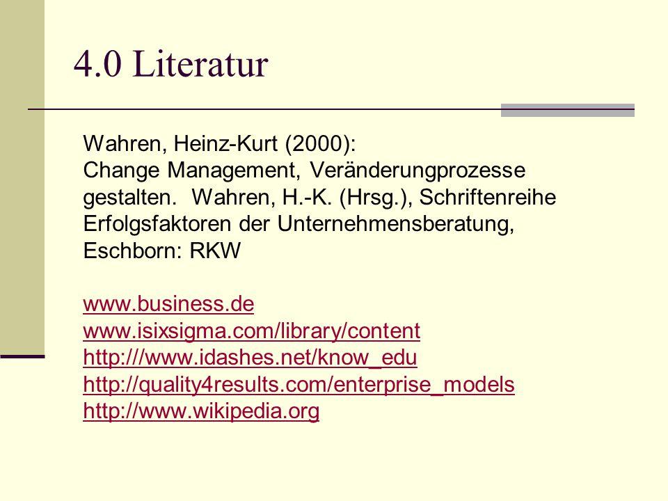 4.0 Literatur Wahren, Heinz-Kurt (2000): Change Management, Veränderungprozesse gestalten. Wahren, H.-K. (Hrsg.), Schriftenreihe Erfolgsfaktoren der U