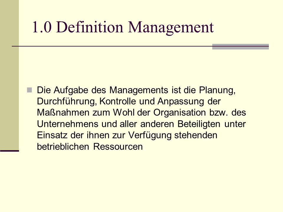 1.0 Definition Management Die Aufgabe des Managements ist die Planung, Durchführung, Kontrolle und Anpassung der Maßnahmen zum Wohl der Organisation b