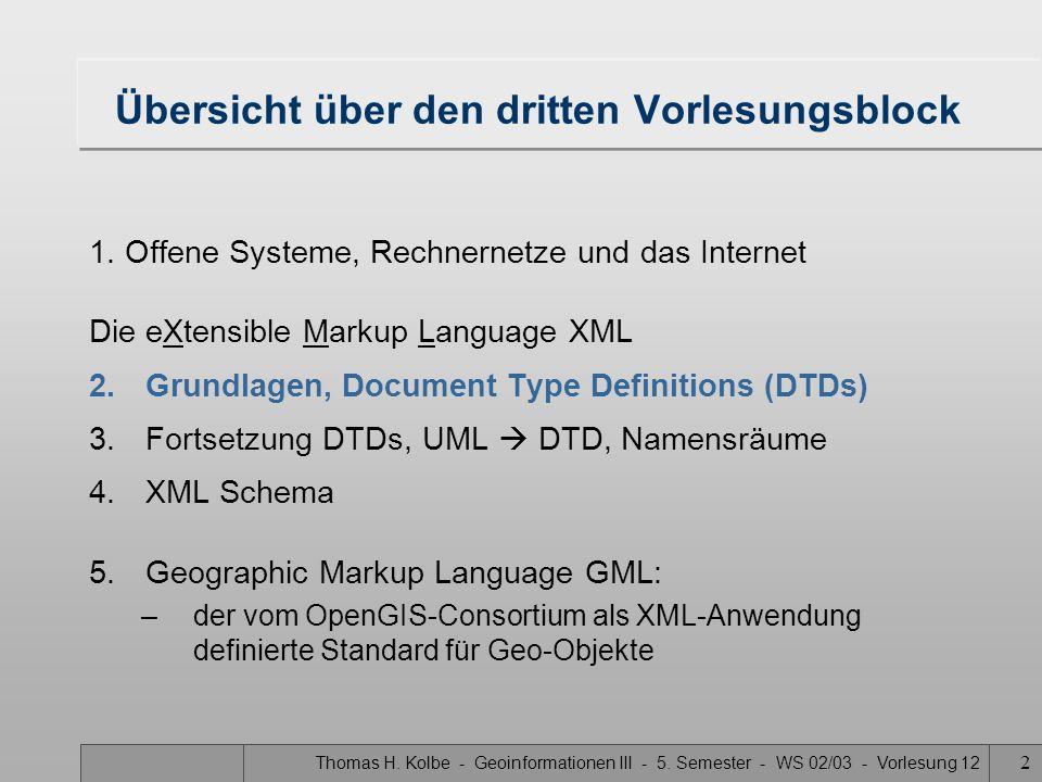 Thomas H. Kolbe - Geoinformationen III - 5. Semester - WS 02/03 - Vorlesung 12 2 1.