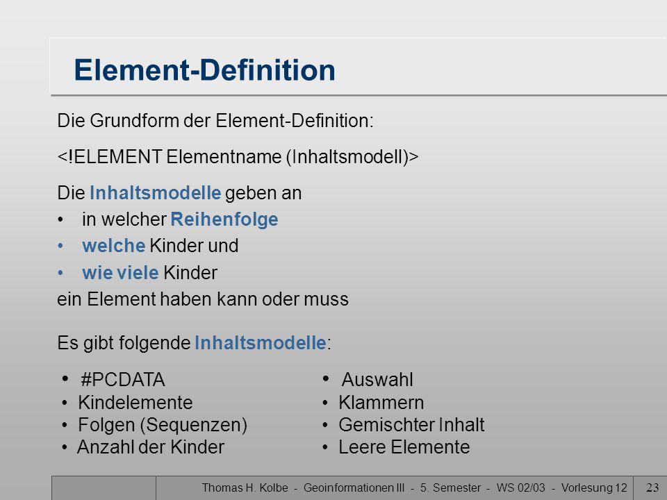 Thomas H. Kolbe - Geoinformationen III - 5.