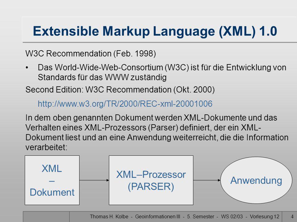 Thomas H.Kolbe - Geoinformationen III - 5. Semester - WS 02/03 - Vorlesung 12 5 HTML Carl F.