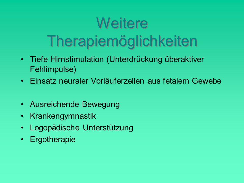 Weitere Therapiemöglichkeiten Tiefe Hirnstimulation (Unterdrückung überaktiver Fehlimpulse) Einsatz neuraler Vorläuferzellen aus fetalem Gewebe Ausreichende Bewegung Krankengymnastik Logopädische Unterstützung Ergotherapie