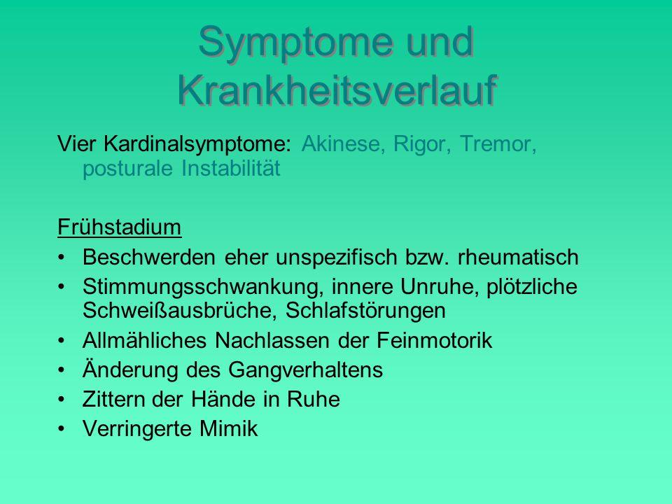 Symptome und Krankheitsverlauf Vier Kardinalsymptome: Akinese, Rigor, Tremor, posturale Instabilität Frühstadium Beschwerden eher unspezifisch bzw.