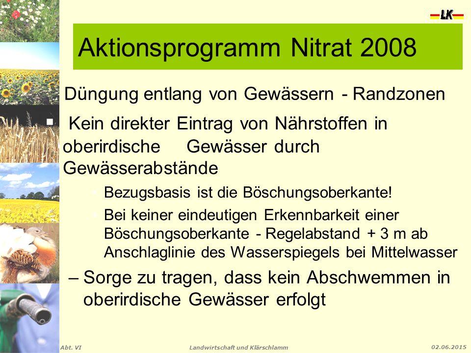 Landwirtschaft und Klärschlamm Abt. VI 02.06.2015 Düngung entlang von Gewässern - Randzonen  Kein direkter Eintrag von Nährstoffen in oberirdische Ge