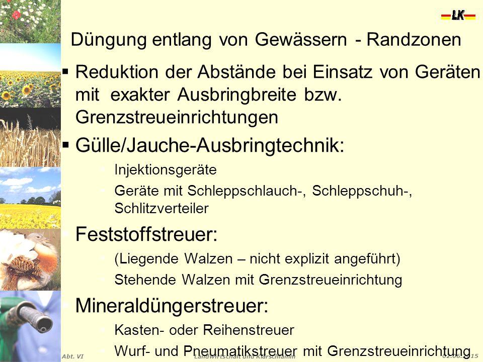 Landwirtschaft und Klärschlamm Abt. VI 02.06.2015 Düngung entlang von Gewässern - Randzonen  Reduktion der Abstände bei Einsatz von Geräten mit exakt