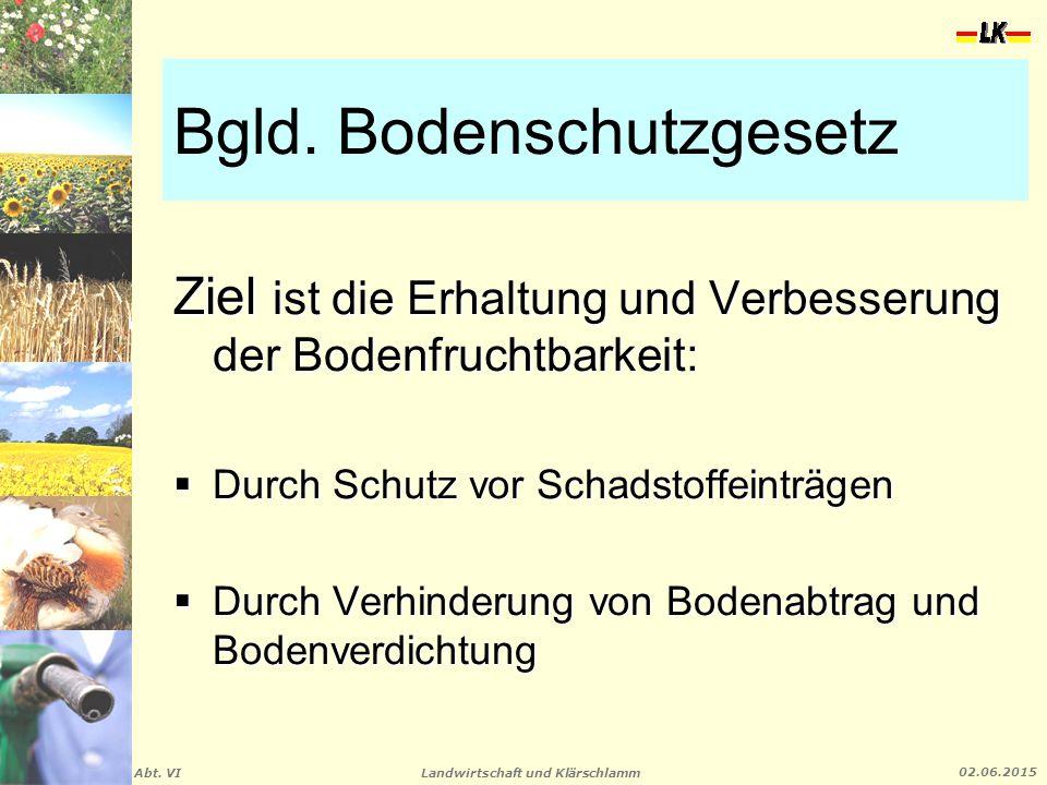 Landwirtschaft und Klärschlamm Abt. VI 02.06.2015 Bgld. Bodenschutzgesetz Ziel ist die Erhaltung und Verbesserung der Bodenfruchtbarkeit:  Durch Schu