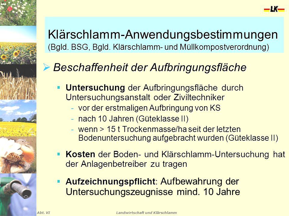 Landwirtschaft und Klärschlamm Abt. VI Klärschlamm-Anwendungsbestimmungen (Bgld. BSG, Bgld. Klärschlamm- und Müllkompostverordnung)  Beschaffenheit d