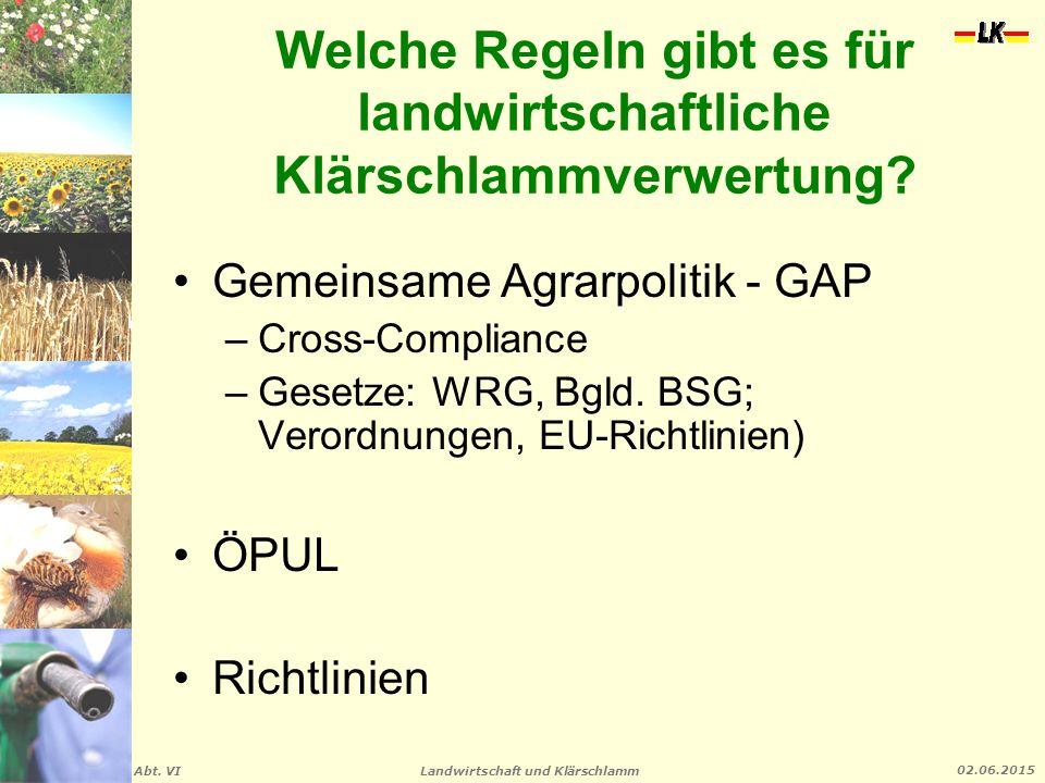 Landwirtschaft und Klärschlamm Abt. VI 02.06.2015 Welche Regeln gibt es für landwirtschaftliche Klärschlammverwertung? Gemeinsame Agrarpolitik - GAP –