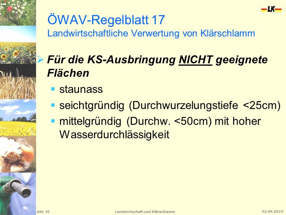 Landwirtschaft und Klärschlamm Abt. VI 02.06.2015 ÖWAV-Regelblatt 17 Landwirtschaftliche Verwertung von Klärschlamm  Für die KS-Ausbringung NICHT gee