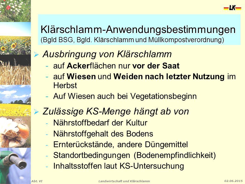 Landwirtschaft und Klärschlamm Abt. VI 02.06.2015 Klärschlamm-Anwendungsbestimmungen (Bgld BSG, Bgld. Klärschlamm und Müllkompostverordnung)  Ausbrin