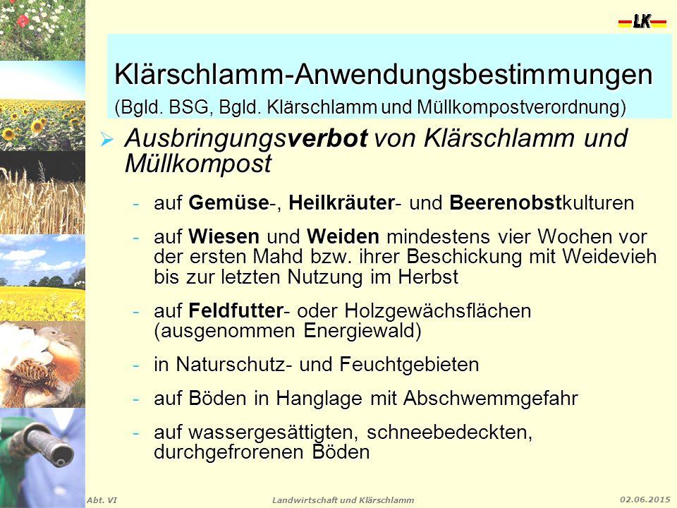 Landwirtschaft und Klärschlamm Abt. VI 02.06.2015 Klärschlamm-Anwendungsbestimmungen (Bgld. BSG, Bgld. Klärschlamm und Müllkompostverordnung)  Ausbri