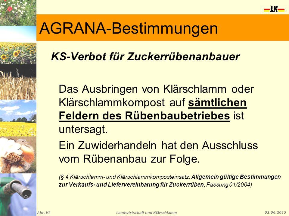 Landwirtschaft und Klärschlamm Abt. VI 02.06.2015 AGRANA-Bestimmungen KS-Verbot für Zuckerrübenanbauer Das Ausbringen von Klärschlamm oder Klärschlamm