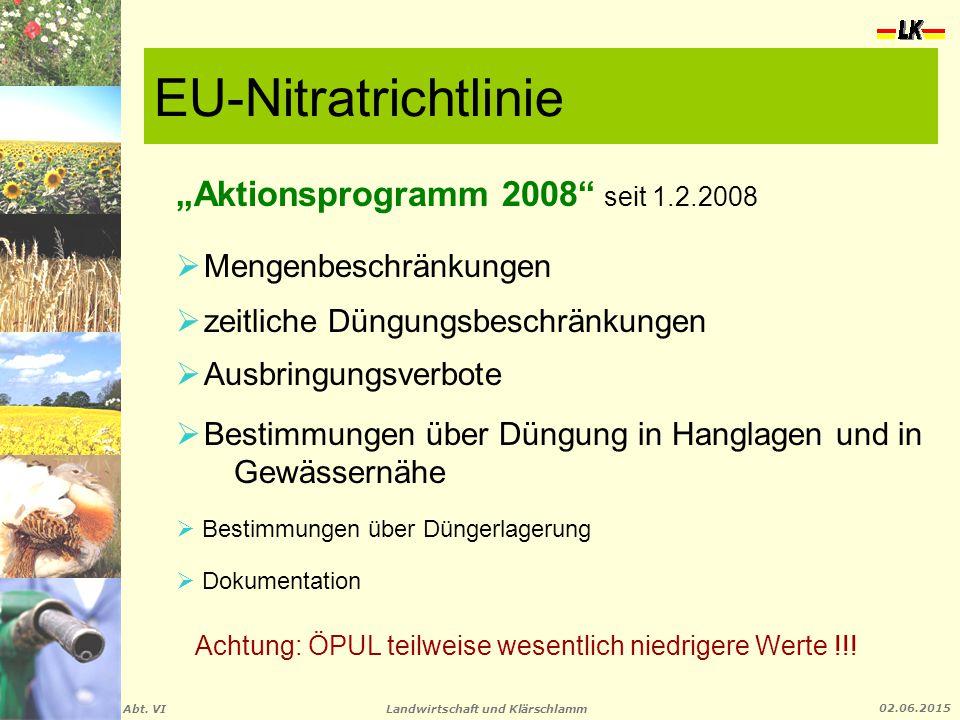 """Landwirtschaft und Klärschlamm Abt. VI 02.06.2015 EU-Nitratrichtlinie """"Aktionsprogramm 2008"""" seit 1.2.2008  Mengenbeschränkungen  zeitliche Düngungs"""