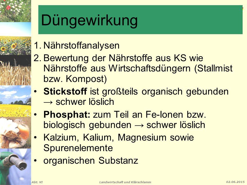 Landwirtschaft und Klärschlamm Abt. VI 02.06.2015 Düngewirkung 1.Nährstoffanalysen 2.Bewertung der Nährstoffe aus KS wie Nährstoffe aus Wirtschaftsdün