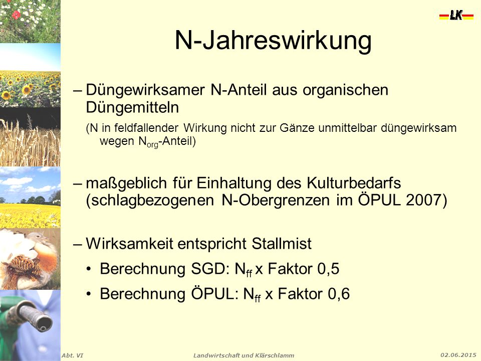 Landwirtschaft und Klärschlamm Abt. VI 02.06.2015 N-Jahreswirkung –Düngewirksamer N-Anteil aus organischen Düngemitteln (N in feldfallender Wirkung ni