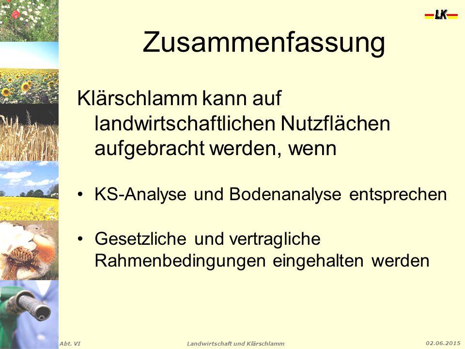 Landwirtschaft und Klärschlamm Abt. VI 02.06.2015 Zusammenfassung Klärschlamm kann auf landwirtschaftlichen Nutzflächen aufgebracht werden, wenn KS-An