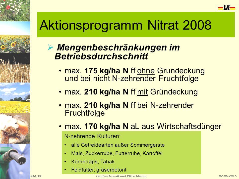 Landwirtschaft und Klärschlamm Abt. VI 02.06.2015 Aktionsprogramm Nitrat 2008  Mengenbeschränkungen im Betriebsdurchschnitt max. 175 kg/ha N ff ohne