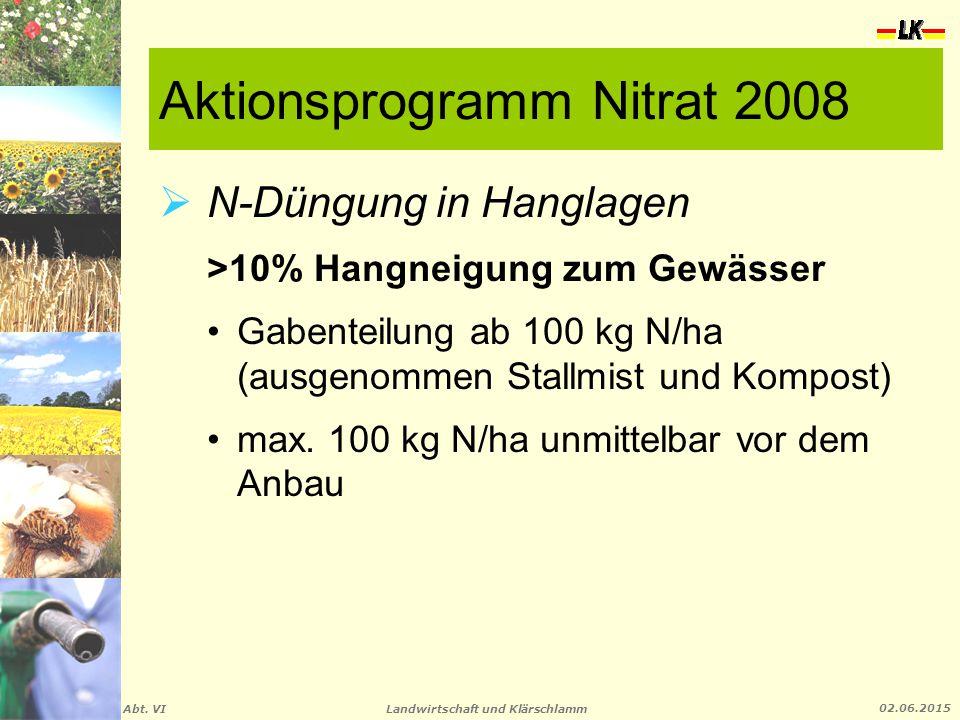 Landwirtschaft und Klärschlamm Abt. VI 02.06.2015 Aktionsprogramm Nitrat 2008  N-Düngung in Hanglagen >10% Hangneigung zum Gewässer Gabenteilung ab 1