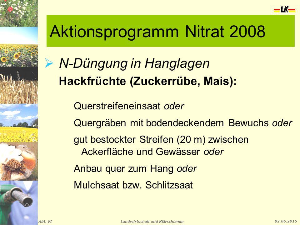 Landwirtschaft und Klärschlamm Abt. VI 02.06.2015 Aktionsprogramm Nitrat 2008  N-Düngung in Hanglagen Hackfrüchte (Zuckerrübe, Mais): Querstreifenein