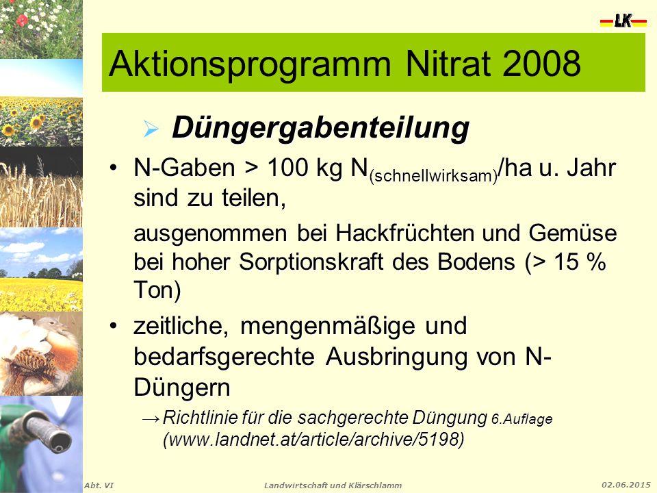 Landwirtschaft und Klärschlamm Abt. VI 02.06.2015 Aktionsprogramm Nitrat 2008  Düngergabenteilung N-Gaben > 100 kg N (schnellwirksam) /ha u. Jahr sin