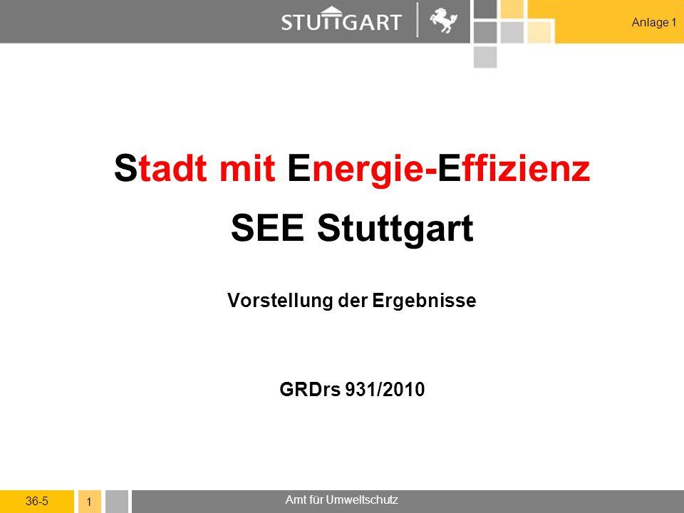 36-5 Amt für Umweltschutz 1 Stadt mit Energie-Effizienz SEE Stuttgart Vorstellung der Ergebnisse GRDrs 931/2010 Anlage 1