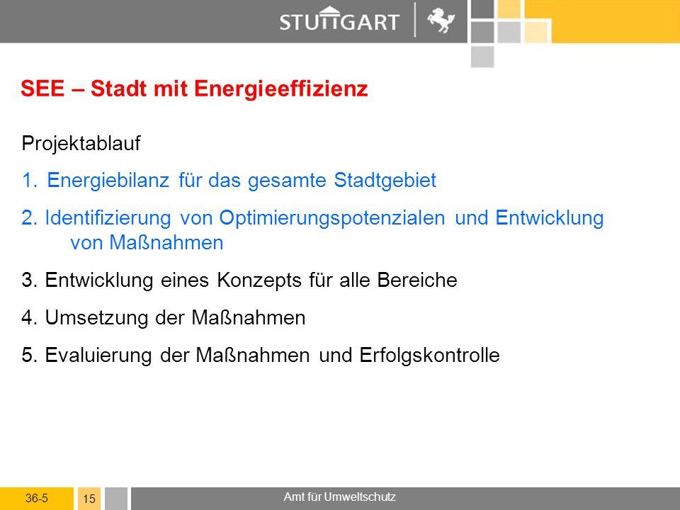 36-5 Amt für Umweltschutz 15 SEE – Stadt mit Energieeffizienz Projektablauf 1.Energiebilanz für das gesamte Stadtgebiet 2. Identifizierung von Optimie