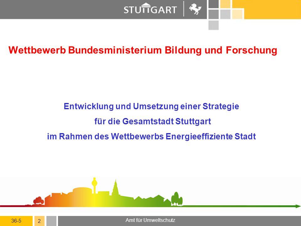 36-5 Amt für Umweltschutz 2 Wettbewerb Bundesministerium Bildung und Forschung Entwicklung und Umsetzung einer Strategie für die Gesamtstadt Stuttgart
