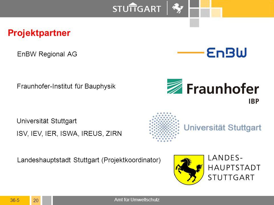 36-5 Amt für Umweltschutz 20 Projektpartner EnBW Regional AG Landeshauptstadt Stuttgart (Projektkoordinator) Universität Stuttgart ISV, IEV, IER, ISWA