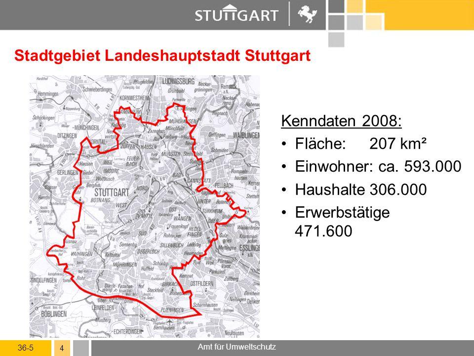 36-5 Amt für Umweltschutz 4 Stadtgebiet Landeshauptstadt Stuttgart Kenndaten 2008: Fläche:207 km² Einwohner: ca. 593.000 Haushalte306.000 Erwerbstätig