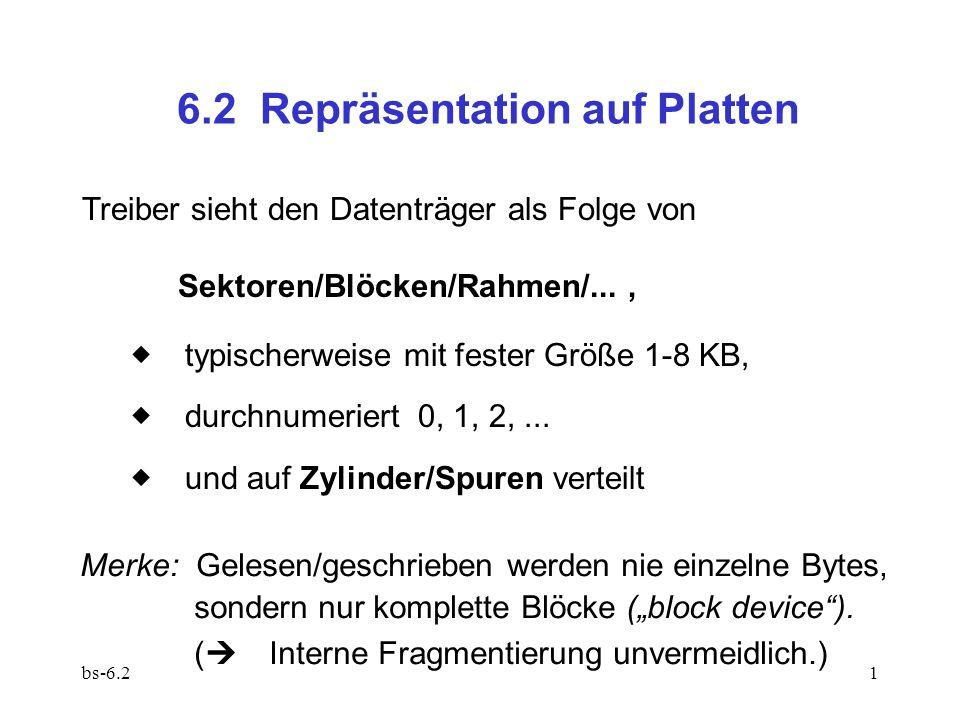 bs-6.21 6.2 Repräsentation auf Platten Treiber sieht den Datenträger als Folge von Sektoren/Blöcken/Rahmen/...,  typischerweise mit fester Größe 1-8 KB,  durchnumeriert 0, 1, 2,...