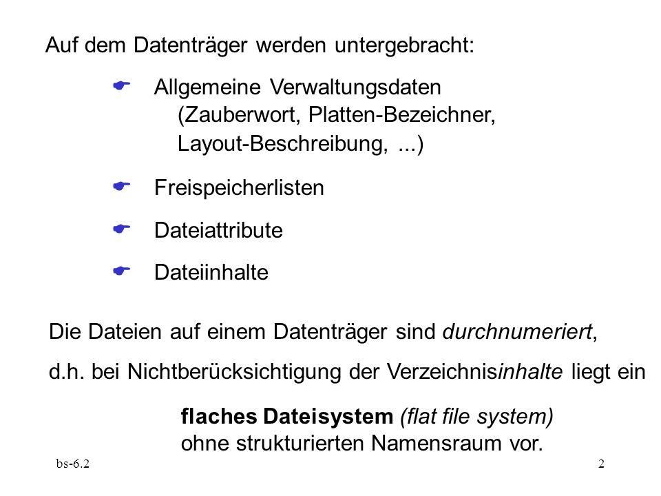 bs-6.22 Auf dem Datenträger werden untergebracht:  Allgemeine Verwaltungsdaten (Zauberwort, Platten-Bezeichner, Layout-Beschreibung,...)  Freispei