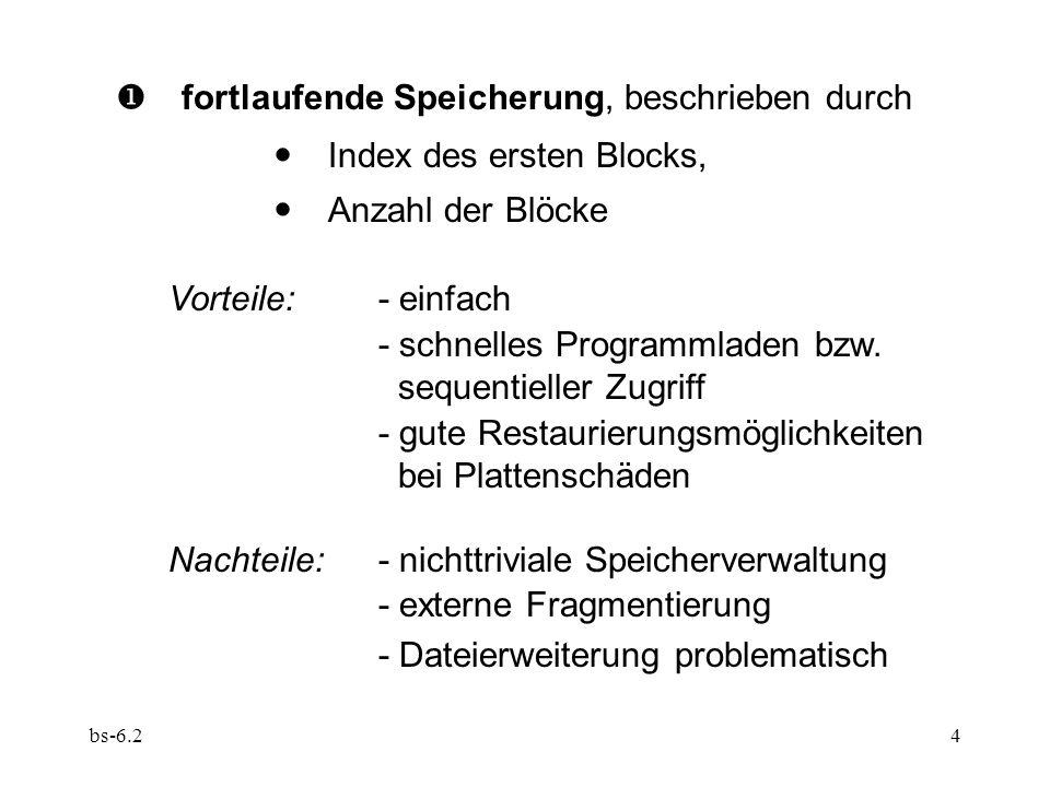 bs-6.25  gestreute Speicherung, beschrieben durch  Liste der Nummern der gewählten Blöcke Vorteile:- einfache Speicherverwaltung - Dateierweiterung unproblematisch - keine externe Fragmentierung Nachteile:- Platzbedarf für Lagebeschreibung - schnelles Programmladen .