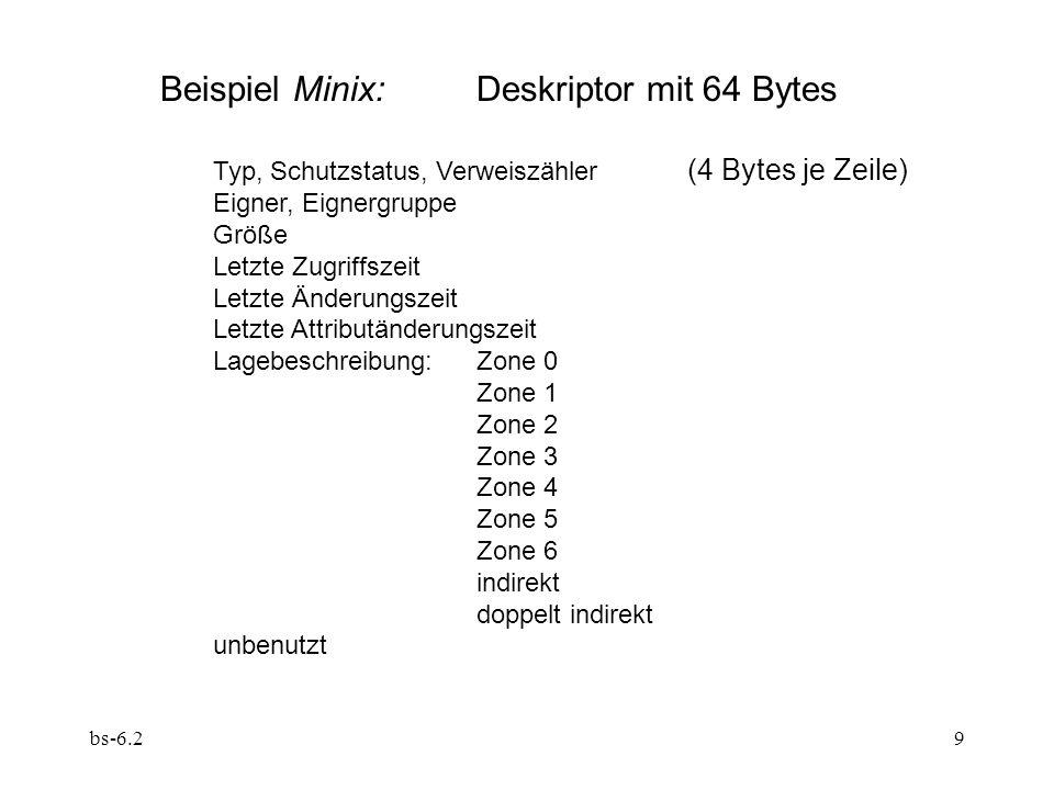 bs-6.29 Beispiel Minix:Deskriptor mit 64 Bytes Typ, Schutzstatus, Verweiszähler (4 Bytes je Zeile) Eigner, Eignergruppe Größe Letzte Zugriffszeit Letzte Änderungszeit Letzte Attributänderungszeit Lagebeschreibung:Zone 0 Zone 1 Zone 2 Zone 3 Zone 4 Zone 5 Zone 6 indirekt doppelt indirekt unbenutzt
