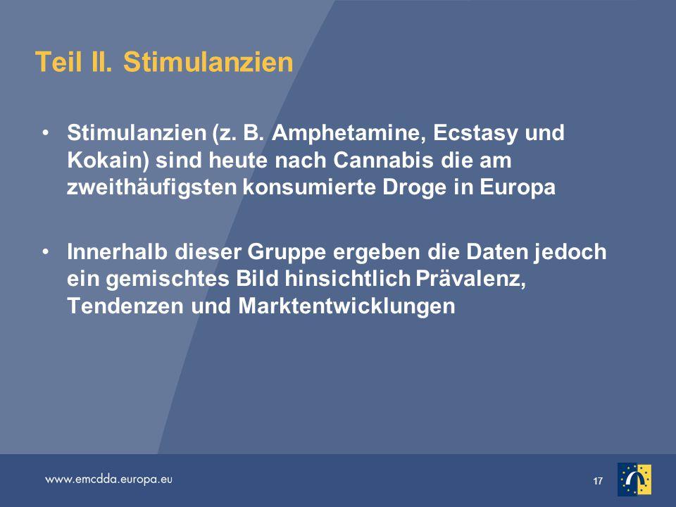 17 Teil II. Stimulanzien Stimulanzien (z. B. Amphetamine, Ecstasy und Kokain) sind heute nach Cannabis die am zweithäufigsten konsumierte Droge in Eur