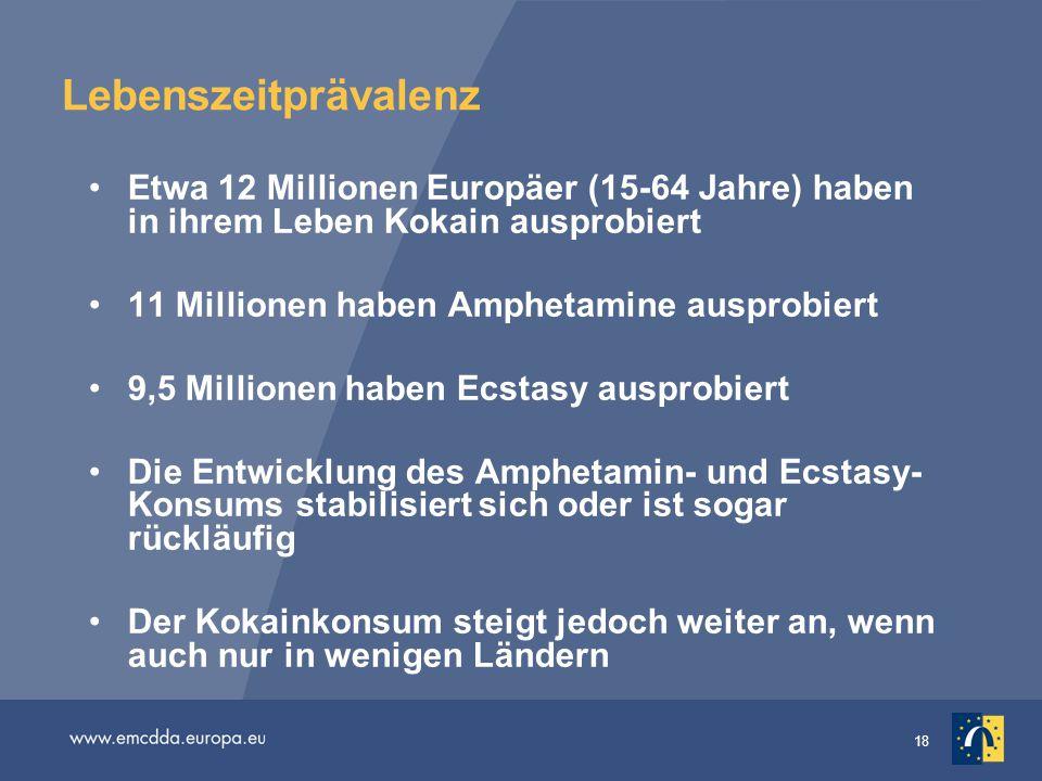 18 Lebenszeitprävalenz Etwa 12 Millionen Europäer (15-64 Jahre) haben in ihrem Leben Kokain ausprobiert 11 Millionen haben Amphetamine ausprobiert 9,5
