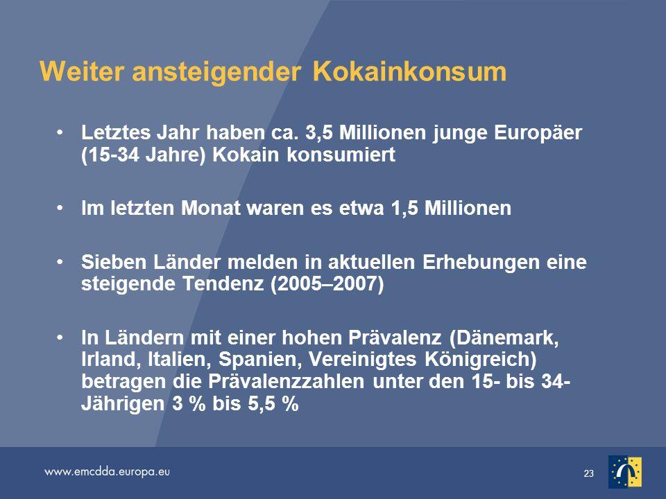 23 Weiter ansteigender Kokainkonsum Letztes Jahr haben ca. 3,5 Millionen junge Europäer (15-34 Jahre) Kokain konsumiert Im letzten Monat waren es etwa