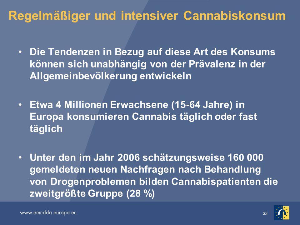 33 Regelmäßiger und intensiver Cannabiskonsum Die Tendenzen in Bezug auf diese Art des Konsums können sich unabhängig von der Prävalenz in der Allgeme