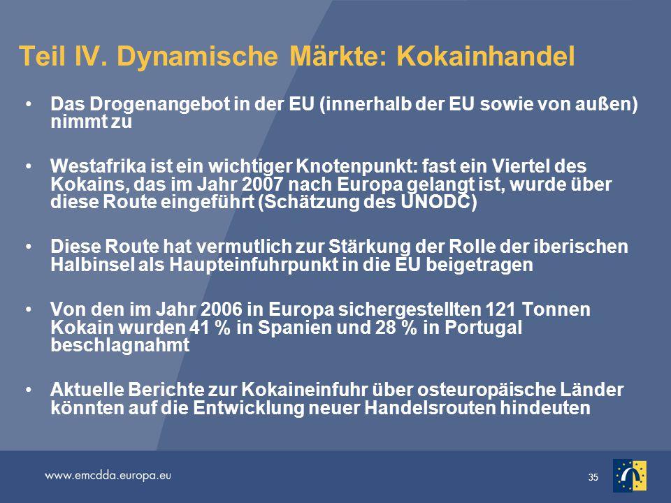 35 Teil IV. Dynamische Märkte: Kokainhandel Das Drogenangebot in der EU (innerhalb der EU sowie von außen) nimmt zu Westafrika ist ein wichtiger Knote