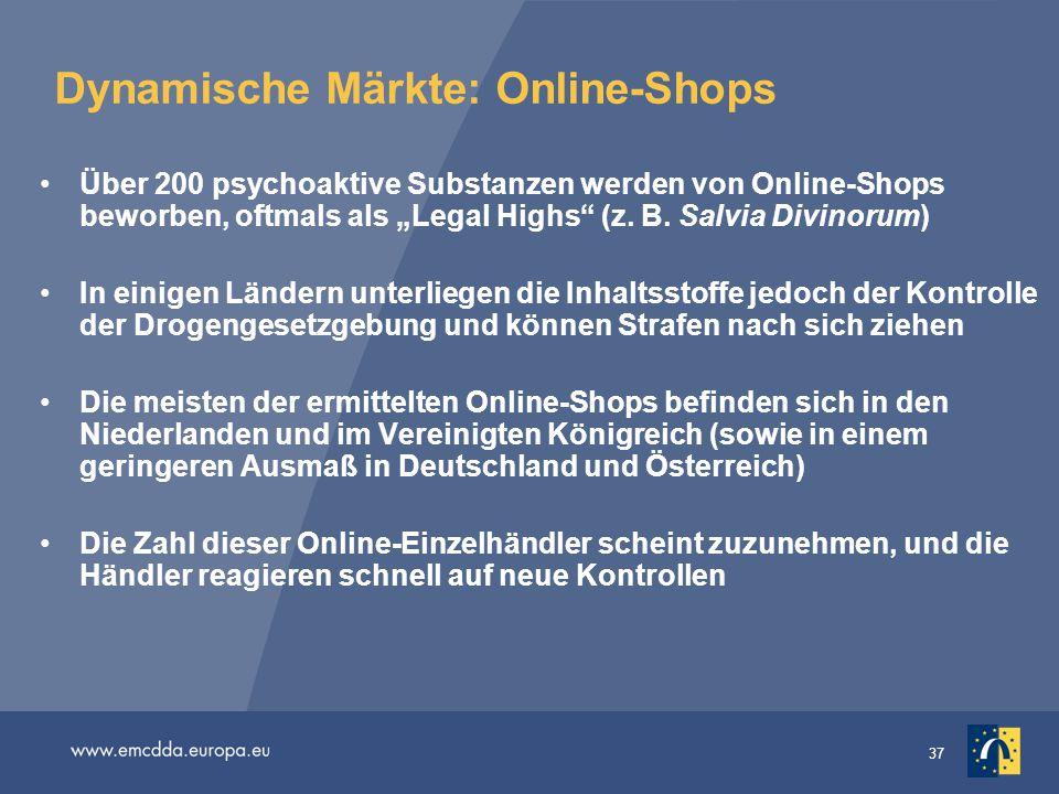 """37 Dynamische Märkte: Online-Shops Über 200 psychoaktive Substanzen werden von Online-Shops beworben, oftmals als """"Legal Highs"""" (z. B. Salvia Divinoru"""
