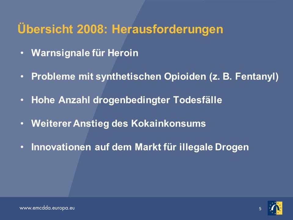 5 Übersicht 2008: Herausforderungen Warnsignale für Heroin Probleme mit synthetischen Opioiden (z. B. Fentanyl) Hohe Anzahl drogenbedingter Todesfälle