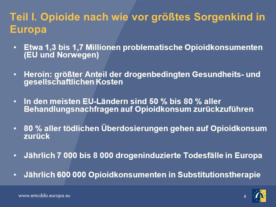 6 Teil I. Opioide nach wie vor größtes Sorgenkind in Europa Etwa 1,3 bis 1,7 Millionen problematische Opioidkonsumenten (EU und Norwegen) Heroin: größ