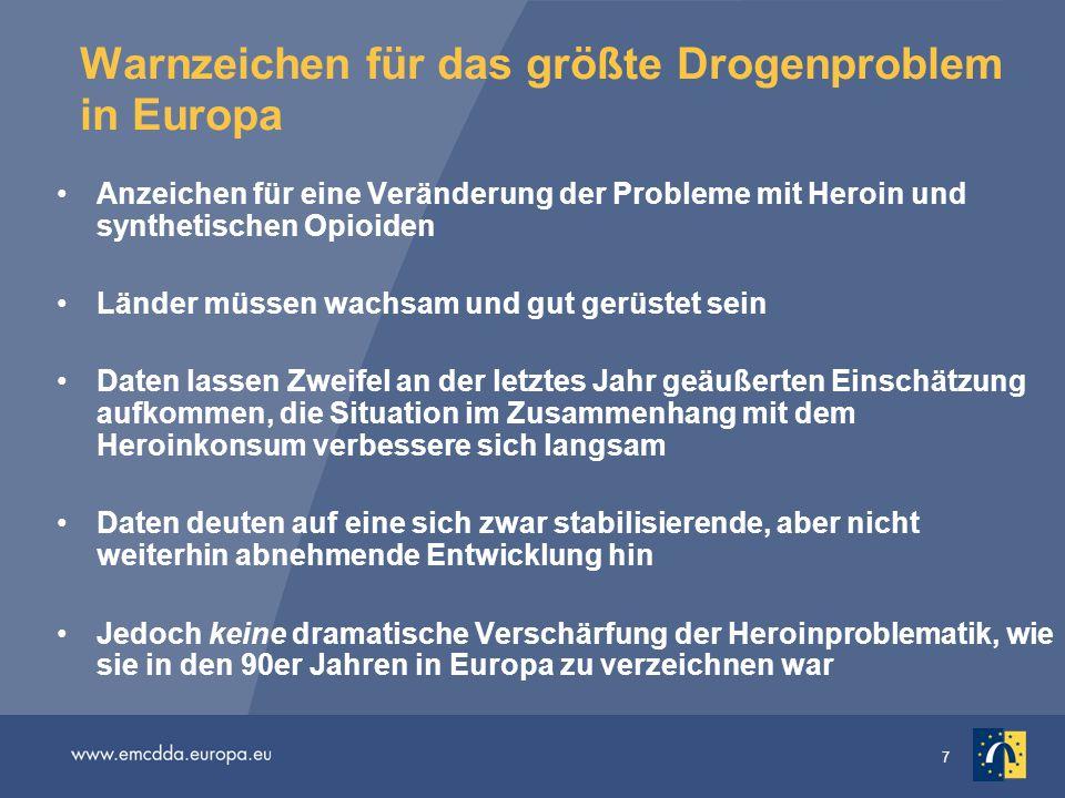 7 Warnzeichen für das größte Drogenproblem in Europa Anzeichen für eine Veränderung der Probleme mit Heroin und synthetischen Opioiden Länder müssen w