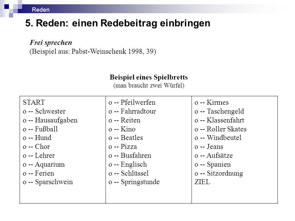 Frei sprechen (Beispiel aus: Pabst-Weinschenk 1998, 39) Beispiel eines Spielbretts (man braucht zwei Würfel) START o -- Schwester o -- Hausaufgaben o