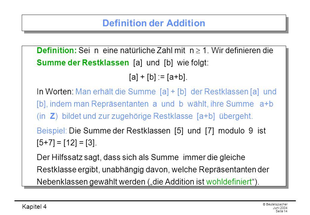 Kapitel 4 © Beutelspacher Juni 2004 Seite 14 Definition der Addition Definition: Sei n eine natürliche Zahl mit n  1.