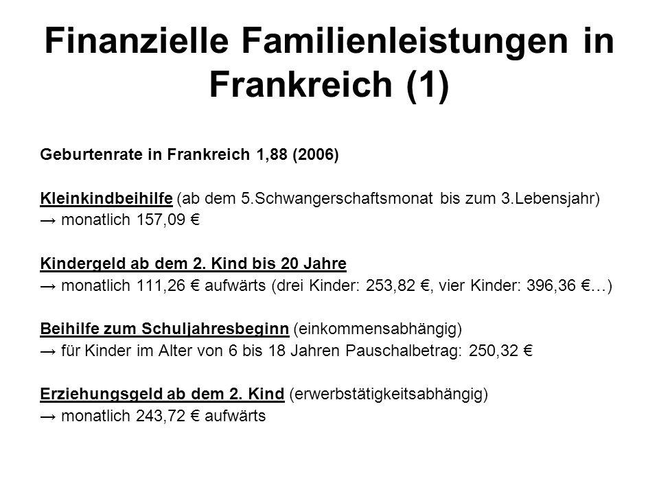 Geburtenrate in Frankreich 1,88 (2006) Kleinkindbeihilfe (ab dem 5.Schwangerschaftsmonat bis zum 3.Lebensjahr) → monatlich 157,09 € Kindergeld ab dem 2.